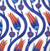 16th Century Iznik Tile Detail with Ascending Vines with Tulips, Rustem Pasa Mosque, Istanbul