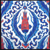16th Century Iznik Tile Detail with a Tulip in the Center, Rustem Pasa Mosque, Istanbul